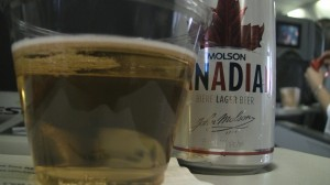 Can of Molson Canadian Beer on WestJet