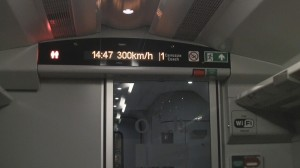 Speed display showing 300 kilometers per hour - italo train.