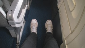Picture of extra legroom economy seat.