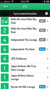 LoungeBuddy Lounge List.
