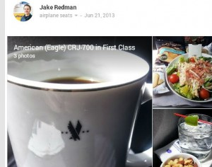 Pictures of American Airlines domestic first Class at our Google+ community.