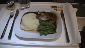 Lufthansa Business Class meat and potatoes meal.