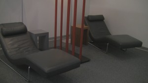 Relaxation chairs at Vienna Schengen Austrian Business Class Lounge.