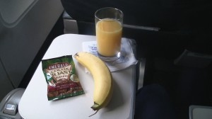 Snack basket items aboard a United A320